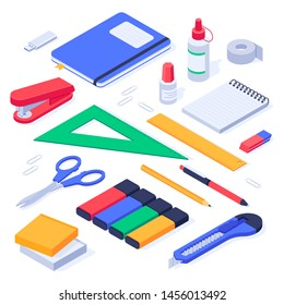 Isometric office supplies. School stationery tools, pencil eraser and pens. Stationery stapler, notebook and ruler tool supplies or workspace equipment isolated 3d icons vector set