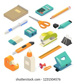 Isometric office tools and business stationery for workplace. Writing and other office materials set. Vector illustration isolated on white background