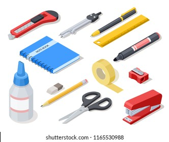 Isometric office tools. School stationery and supplies. Vector 3d icons. Illustration of ruler and compass, rubber and sharpener, knife and stapler