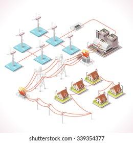 Diagram power plant images stock photos vectors shutterstock isometric offshore wind farm isometric 3d power plant grid factory electric generator power station electricity grid ccuart Images