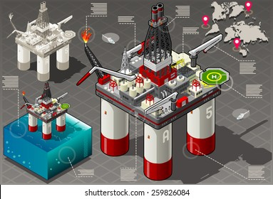 Isometric Oil Infographic Gas Industry Mining Offshore Rig Energy Set Petroleum Plant. Isometric Offshore Mining Infographic Gas Oil Industry 3d Vector Illustration Oil Isometric Rig