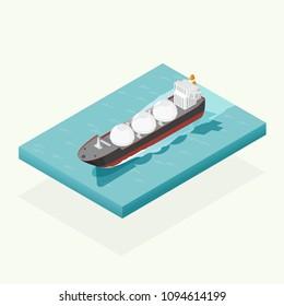 isometric oil tanker ship in the ocean transportation, shipping freight transportation. illustration vector