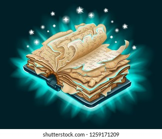 Isometric old book of magic spells and witchcraft with torn pages for computer game. Fairy tale icon in cartoon style. 3d isolated vector illustration.