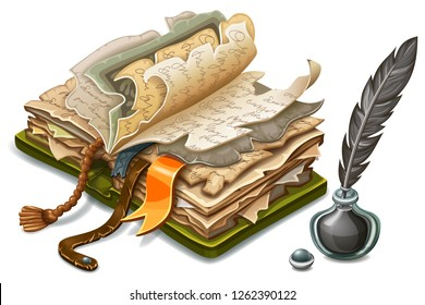 Isometric old book of magic spells and witchcraft with torn pages and inkwell with feather. Icons for computer game in cartoon style. 3d isolated vector illustration.
