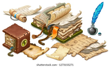 Isometric old book of magic spells and witchcraft decorated snake eye, elixir and inkwell with feather, rice paper. Poster in cartoon style for computer game. Vector illustration.