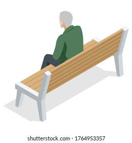 Isometric old man sitting on a bench and resting , back view, Isolated on white background