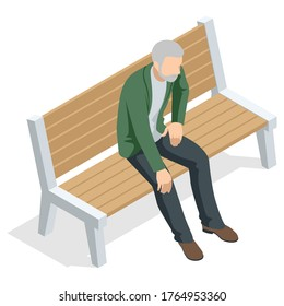 Isometric old man sitting on a bench and resting , front view, Isolated on white background