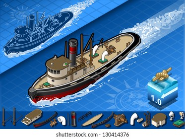 Isometric old tugboat in front view