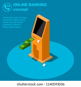 Isometric online banking concept. ATM machine or self- service payment terminal vector illustration.