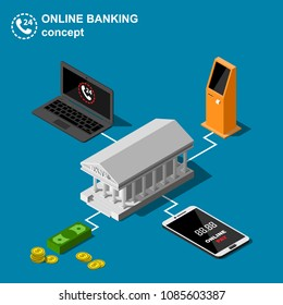 Isometric online banking concept includes smartphone, laptop, bank building and ATM machine or payment terminal vector illustration.