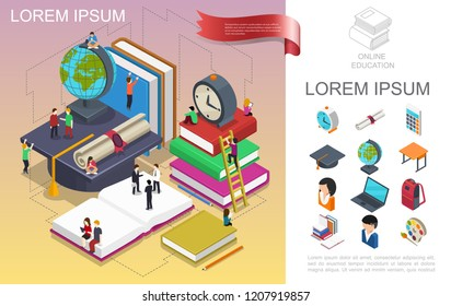 Isometric online education concept with people in learning process globe books alarm clock certificate table backpack painting palette graduation cap vector illustration