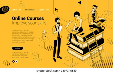 Isometric online education concept  with stack of books, man and woman student people characters. Flat design  template for infographics, web design, banner, poster and mobile app.