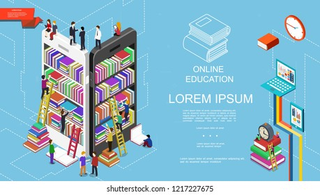 Isometric online education and learning concept with students bookshelves with books on mobile screens alarm clock laptop and tablet vector illustration