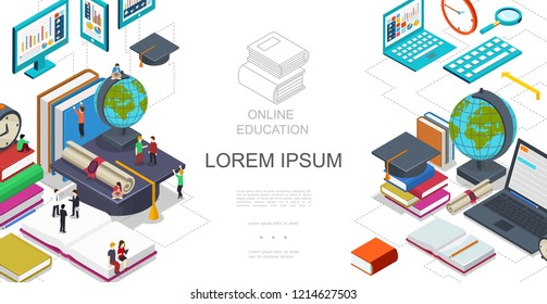 Isometric online education template with students sitting and standing on books globe laptop tablet magnifier certificate graduation cap vector illustration
