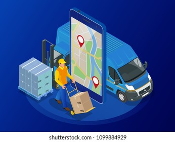 Isometric online Express, Free, Fast Delivery, Shipping concept. Checking delivery service app on mobile phone. Delivery-truck with cardboard box, mobile phone background. Vector illustration.