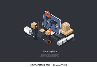 Isometric online global logistics network illustration icons. Set of cargo trucking, rail transportation. On-time delivery designed to carry large numbers of cargo. Vector illustration.