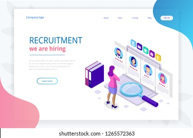 Isometric online job search and human resource, recruitment concept. We are hiring. Presentation for employment and infographics for recruiting. Template website Landing page.