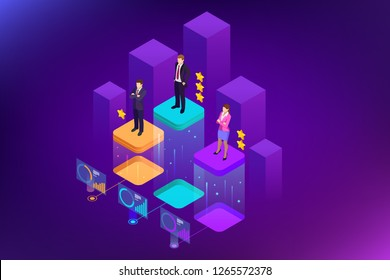 Isometric online job search and human resource, recruitment concept. We are hiring. Presentation for employment and infographics for recruiting.