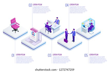 Isometric Online job search and human resource concept. Infographics of Business data visualization. Process chart. Job interview, recruitment agency vector illustration