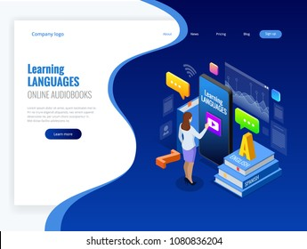 Isometric Online Language Learning Interface and Teaching Concept. Online language school lifestyle. Education Concept. Vector illustration