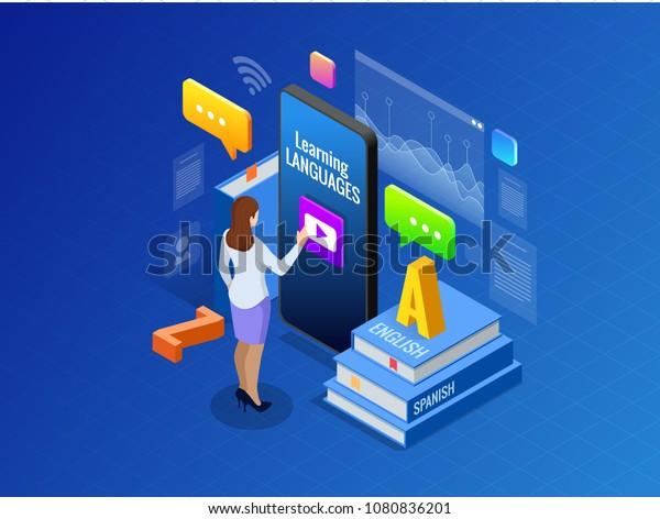 Isométrique Online Language Learning Interface et Concept d'enseignement. Mode de vie scolaire en ligne.  Concept d'éducation. Illustration vectorielle
