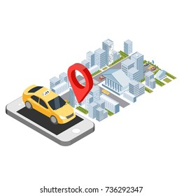 isometric online order city taxi concept, iphone order uber with the pin location