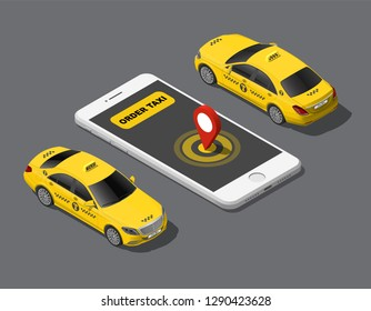 Isometric online order mobile city taxi service application concept, yellow cab, geo location on smartphone. 3d flat vector illustration