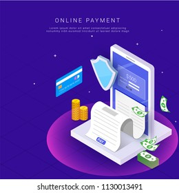 Isometric, online payment from app concept. Internet payments by card and payment receipt. Secure money transfer with stack of coins,  and bank currency notes.