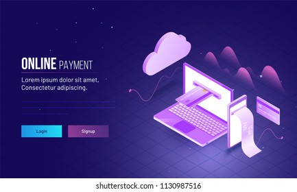 Isometric online payment by credit or debit cards from laptop and smartphone. Landing page design.