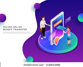 Isometric, online payment by mobile, secure money transfer or money conversion concept from card to cash.