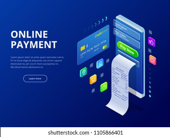 Isometric online payment online concept. Internet payments, protection money transfer, online bank vector illustration