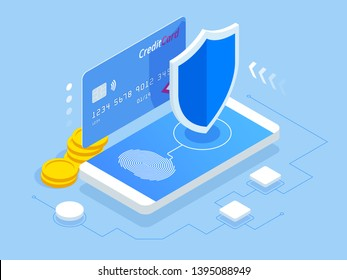 Isometric online payment protection system. Smartphone and credit card. Mobile data security. Secure bank transaction with password verification via internet. App programming technology and software