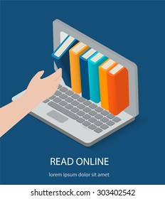 Isometric online reading, digital library concepts. Human hand chooses eBooks in the Internet books store in laptop, vector illustration
