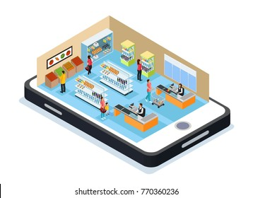 Isometric online shopping concept with customers choosing and buying products in grocery store on mobile vector illustration