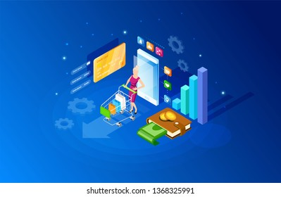 Isometric online smartphone shopping concept. Online store, smart phone home shopping. Mobile ecommerce and marketing. Sale, retail. Mobile marketing and e-commerce template