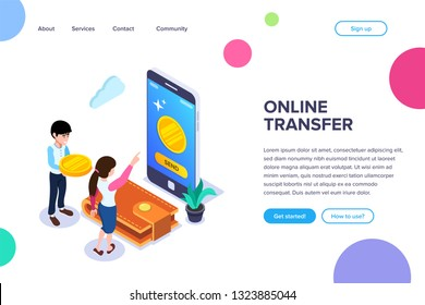 Isometric Online Transfer Concept. Transfer of funds using a mobile phone. Waiver of physical money in favor of virtual. Can use for web banner, sites, infographics, print products