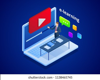 Isometric online video training or tutorial. E-Learning by the webinar training. Online education at Video blog concept. Vector Illustration