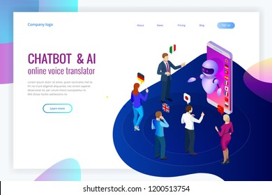 Isometric online voice translator and learning languages concept. E-learning, translate languages or audio guide. Artificial Intelligence chatbot translator.