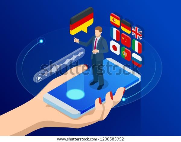Isometric Online Voice Translator Learning Languages Stock