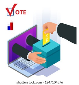 Isometric online voting and election concept. Digital online vote democracy politics election government.