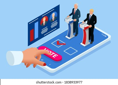 Isometric Online Voting and Election Concept. E-voting, Election Internet System. Smartphone with Vote on Screen. Usa debate of president voting 2020.
