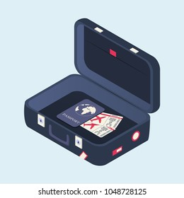 Isometric open suitcase with plane tickets and passport. Travel bag with stickers. More travel. Vector illustration