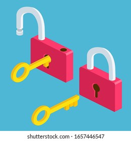 isometric Opened and closed lock icons isolated on blue background, yellow padlocks shapes with key flat illustration concept for web banners, mobile app, web sites, printed materials, infographics