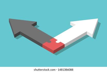 Isometrische gegenüber schwarz-weißen Pfeilen verbunden mit einem gemeinsamen Puzzleteil. Familie, Ehe, Beziehung, Scheidung und Kinderkonzept. EPS 8 Vektorgrafik, keine Transparenz, keine Farbverläufe