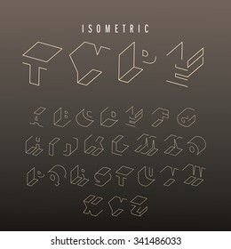 Isometric outline alphabet vector font. 3D isometric letters. Three-Dimensional stock vector typeset for headlines, posters etc.