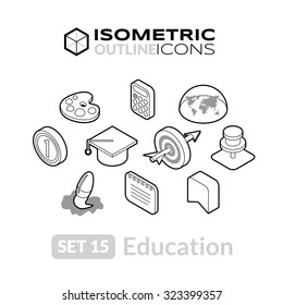 Isometric outline icons, 3D pictograms vector set 15 - Education symbol collection