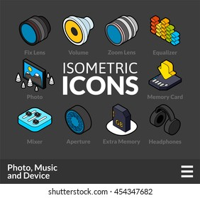 Isometric outline icons, 3D pictograms vector set 5 - Photo music and device symbol collection