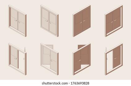 閉じたドアと開いた両開きドアのアイソメ輪郭セット