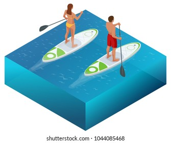Isometric Paddleboard beach men and women on stand up paddle board surfboard surfing in ocean sea. Water sport concept. Active summer vacations with paddle board