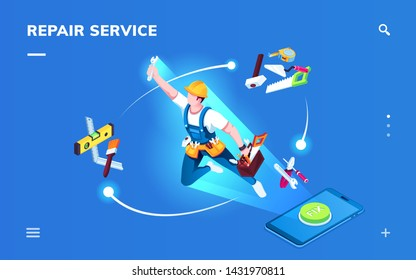 Isometric page for smartphone repair service application. Worker for apartment renovation or foreman with tools for construction or home fixing. Interior repairman, phone with fix button.Landing page